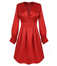 Satin Dress – Red / Long Sleeves / Flattering Crisscross Bodice