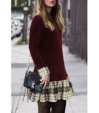 Drop Waist Sweater Dress – Maroon / Plaid Skirt / Flirty Sassy Look