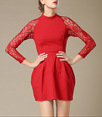 Red Princess Dress – Lace Back and Sleeves