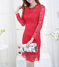 Knee Length Lace Dress – Long Sleeve / Red