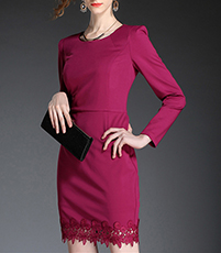Sheath Dress – Long Sleeves / Lace Trim / Berry Color