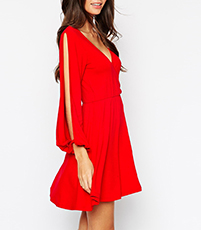 Mini A Line Dress – Red / Slit Full Sleeves