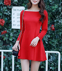 Skater Dress – Long Sleeves / Boat Neck / Tapered Waist / Red / Princess Seams
