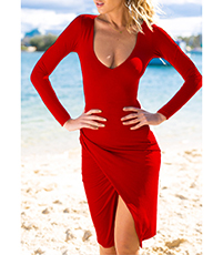 Red Wrap Dress – Long Sleeves / Raised Hemline / Plunging Neckline / Slim Fit