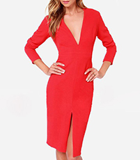 Red Knee Length Dress – Large Front Slit / Bracelet Length Sleeves / Plunging Neckline