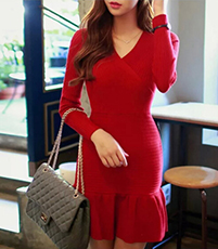 Red Mermaid Sweater Dress – Long Sleeves / Wrapped Bodice / V-Neckline