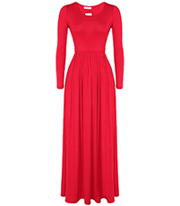 Red Long Sleeved Maxi Dress – Slim Waist / Full Skirt / Round Neckline