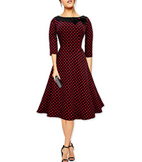 Vintage Red Dress – Audrey Hepburn Style / Bow Collar / Polka Dots