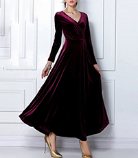 Red Velvet Evening Gown – V Neckline / Long Sleeves / Full Skirt / Cross Over Bodice
