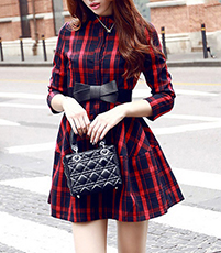 Plaid Shirt Dress – Red Black / Stand Up Collar / Bracelet Length Sleeves / Bow Waistband