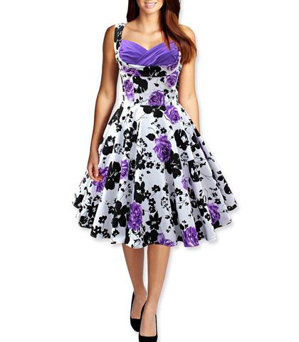 purple white black floral dress flared skirt short sleeves