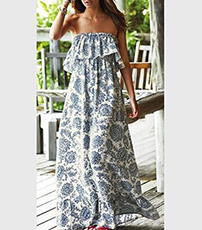 Off The Shoulder Maxi Dress – Ruffled Top / Blue Print Over White