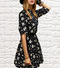 Fit and Flare Dress – Black White / Star Pattern / Long Sleeves