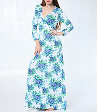 Maxi Floral Dress – Long Sleeves / Blues Greens White Purples