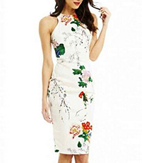 Sleeveless Halter Floral Dress – Off White / Asian-Inspired Floral Print