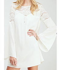 Mini Dress – Solid White / Long Bell Sleeves / A Line Style