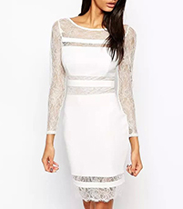 Semi-Formal Dress – Solid White / Lace Trim / Knee Length
