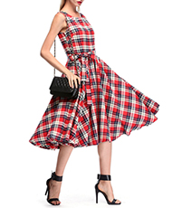 Fit and Flare Dress – Red Gray and Black Check / Short Sleeves