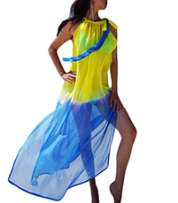 Beach Coverall – Yellow and Blue Tie Died / Chiffon