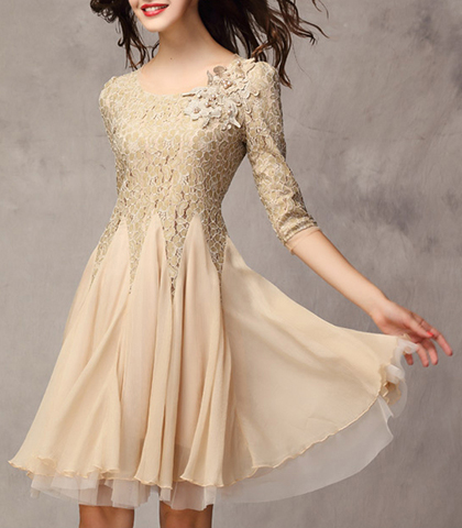 Chiffon Dress – Lace Top / Scalloped Neckline / Bracelet Length Sleeves / Layer Skirt