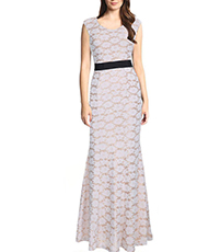 Sleeveless Summer Lace Evening Gown – Apricot / Black Contrast Band / Empire Waist