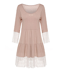 Ruffled Tiered Dress – Lace Sleeves / Deeply Scooped Neckline / Wide Lace Hem