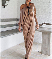 Draped Maxi Dress – Bateau Neckline / Bishop Sleeves / Floor Length