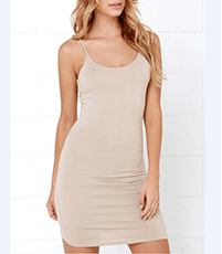 Thin Strap Beige Dress – Adjustable Straps / Scoop Neckline / Body Clinging / Rear Strap