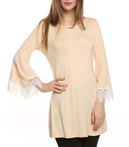 Scalloped Lace Sleeves Mini A line Tunic Dress – Beige