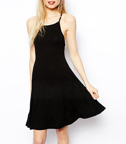 Strappy Black Dress – Backless / Low Waistline / Adjustable Straps / Full Hemline