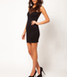 Semi-Sheer Black Dress – Sweetheart Bodice / Round Neckline / Sleeveless / Drop Back