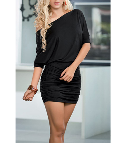 Drop Shoulder Black Dress – Wrapped Bandage Style / Mid Elbow Length Sleeve