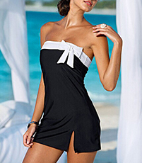 Off The Shoulder Beach Dress – Bow Accent Piece / Contrasting Band Detail / Slit Side