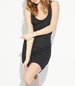 Sleeveless Fitted Dress – Black / Plunging Rounded Neckline / Soft Structure / Clingy Fit