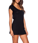 Mini Black Dress – Backless / Strap Closure / Short Cap Sleeves / Rounded Neckline