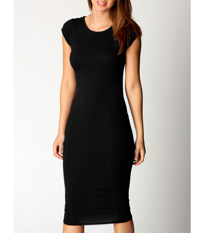 Black Pencil Dress – Short Sleeves / Rounded Neckline / Tapered Waist / Narrow Hem