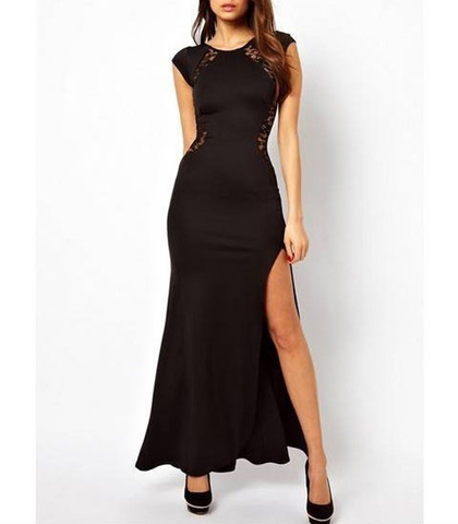 Evening Dress – Maxi / Black / Short Cap Sleeves / Semi Sheer Lace Styling / Curved Hip Design