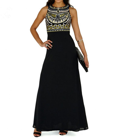 Chiffon Dress – Sleeveless Ethnic Styling / Black Floor Length / Layered