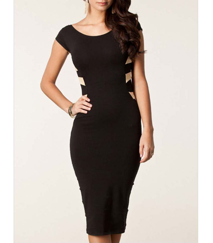 Bandage Dress – Black / Contrasting Rear Straps / Scoop Neckline / Fitted Sides / Pencil Skirt