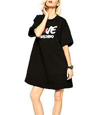 T-Shirt Dress – Crew Neckline / Short Sleeves / Cotton Fabric / Wide Hem