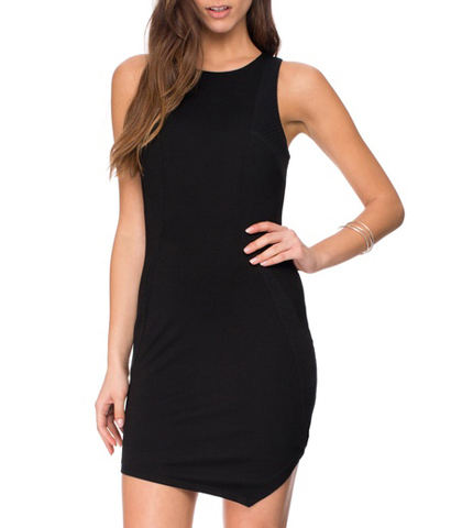 Stylish Little Black Dress – Quirky Short Sheath in Black