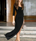 Black Maxi Dress – Low Scooped Neckline / Thigh High Left Skirt Hem