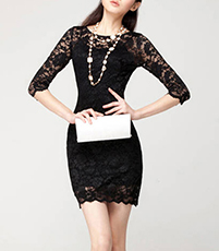 Racy Lace Little Black Dress – Jewel Neckline / Fully Lined Body
