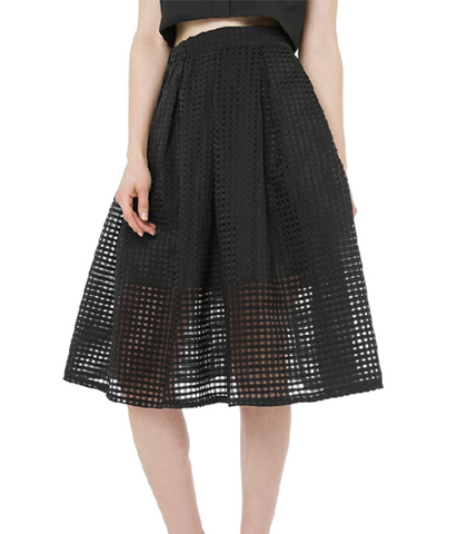 Black Tiered Dress – Double Layered Skirt / Thick Knit Mesh Layering