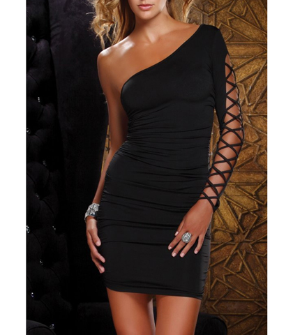 Super Sexy Bodycon Dress – One Shoulder Design / Lace Up Sleeve Details / Black