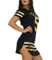 Sexy Jersey Style Dress – Black with Contrasting Gold Leaf Printing / Short Skirt / Side Splits