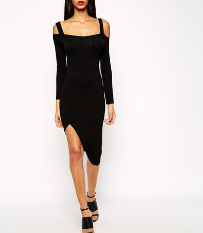 Sexy Black Long Sleeved Dress – Off the Shoulder Design / Irregular Hemline