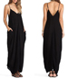 Chiffon Maxi Dress – Slim Strap Design / Side Pockets