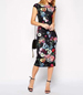Black Cap Sleeve Satin Dress – Midi Length / Bright Floral Pattern