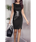 Fitted Mini Dress – Black Cotton and Leather Look